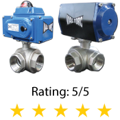 Actuated 3-Way Stainless Steel Ball Valve Full Port