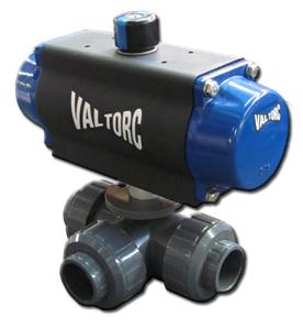 Actuated 3-Way PVC Ball Valve (Pneumatic)