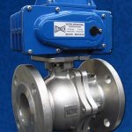Flanged Stainless Steel Ball Valve EL Actuator Blue